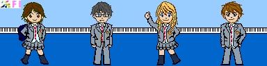 【四月は君の嘘】市立墨谷中学校制服&椿、公生、かをり、渡ドット絵