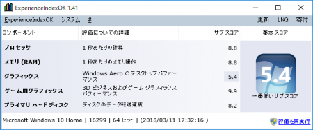 Pentium G4560のWindowsエクスペリエンスインデックスの結果