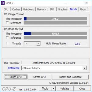 Pentium G4560のCPU-Zベンチマークの結果