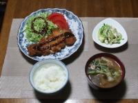 4/23 夕食 味噌カツ、チキンときゆうりのサラダ、脂肪燃焼味噌汁、ご飯