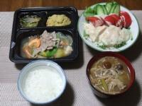 4/25 夕食 八宝菜セット、サラダチキン、脂肪燃焼味噌汁、ごはん