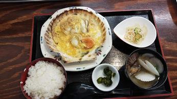 5/2 夕食 帆立貝味噌焼き定食 帆立小屋