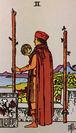 タロットカード『ワンドの2』 by占いとか魔術とか所蔵画像