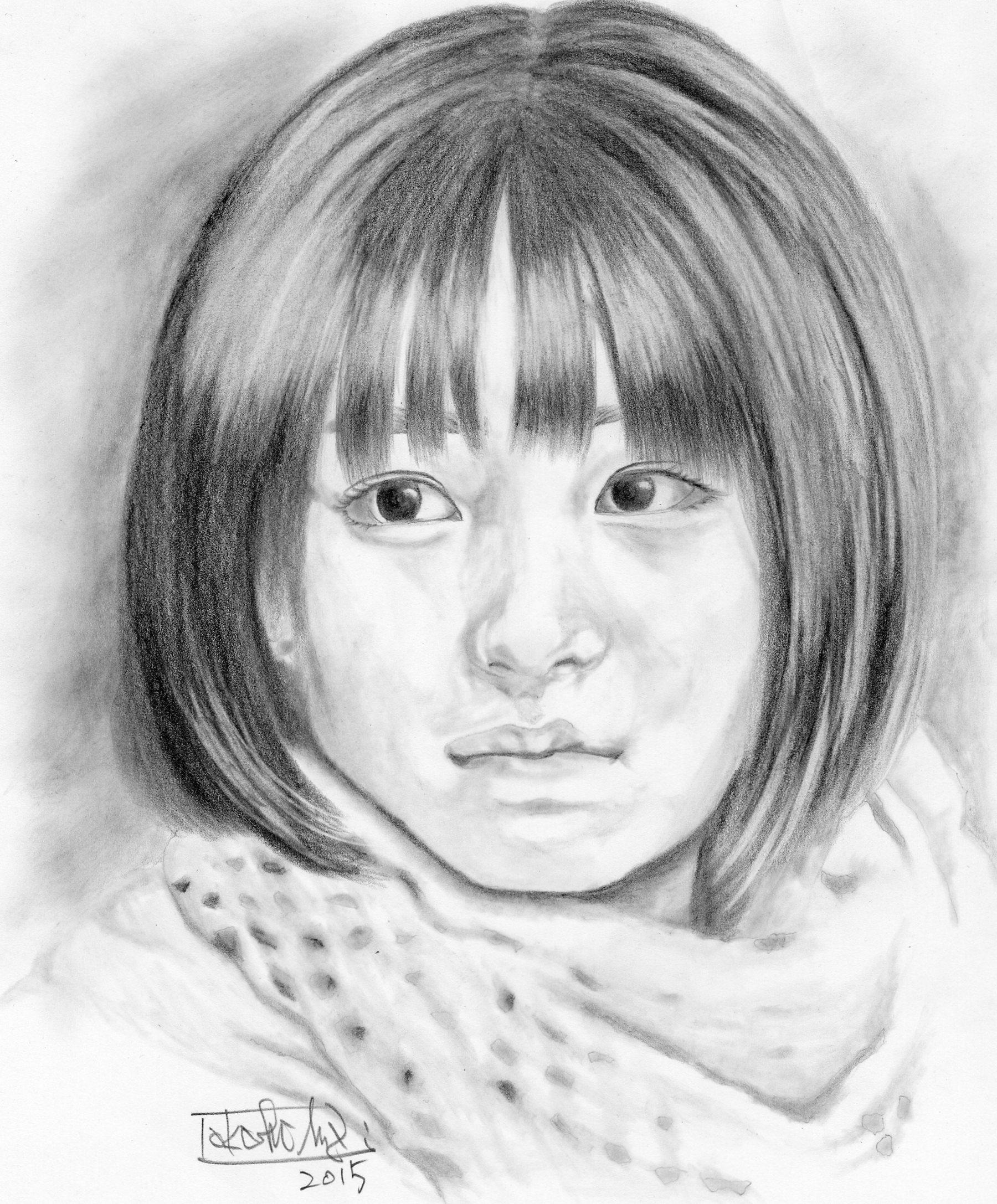 目黒碑文谷 安斎治療室 三代目 広瀬すず イラスト鉛筆画