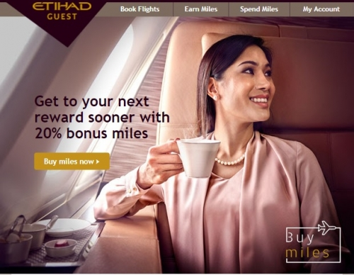 エティハド航空のマイレージ購入で20%のボーナスマイル