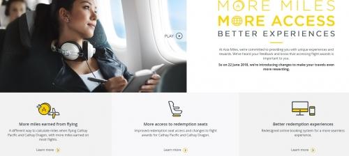 キャセイパシフィック航空のアジア・マイル プログラム変更でマイルの獲得数および特典交換数が変わります。