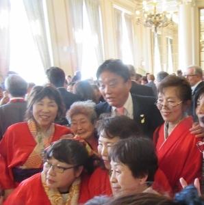 記念式典会場で河村市長とメンバーたち