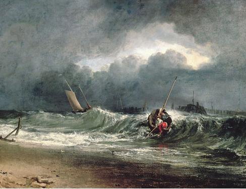 風下側の海辺にいる漁師たち