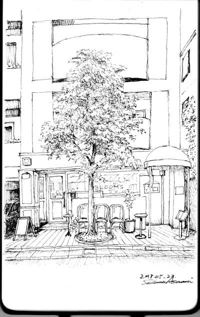 洋菓子店 線描き 02