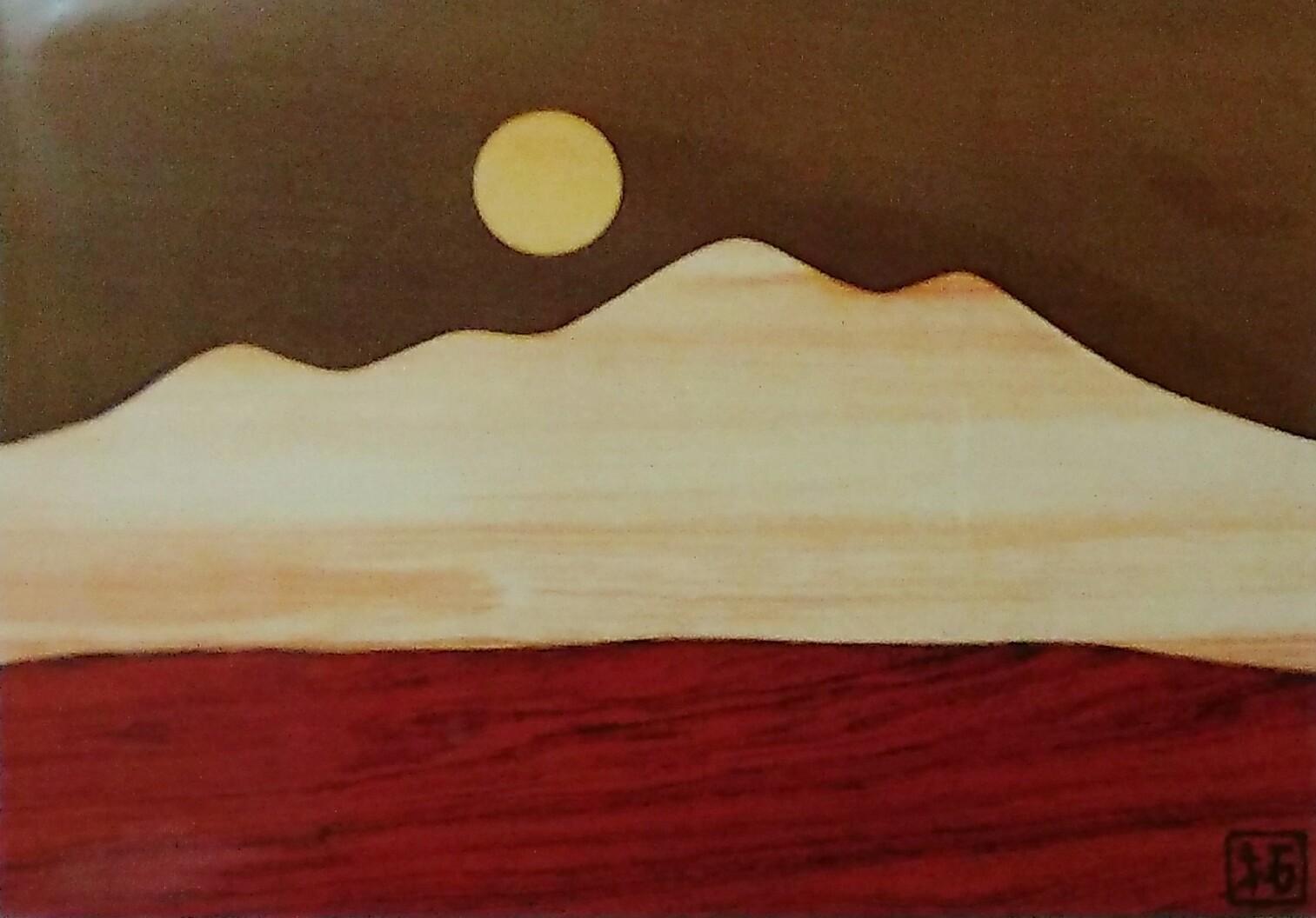 寄木細工 箱根 ポストカード 月と八ヶ岳