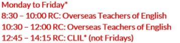 For English Teacher timetable