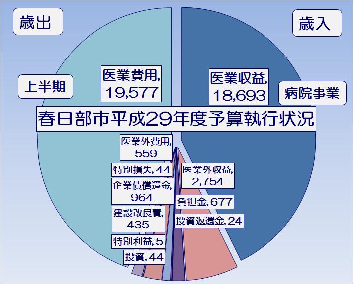春日部市平成29年度上半期病院事業予算執行状況・グラフ1