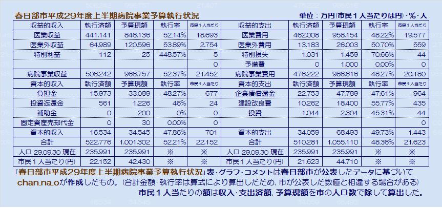 春日部市平成29年度上半期病院事業予算執行状況・表