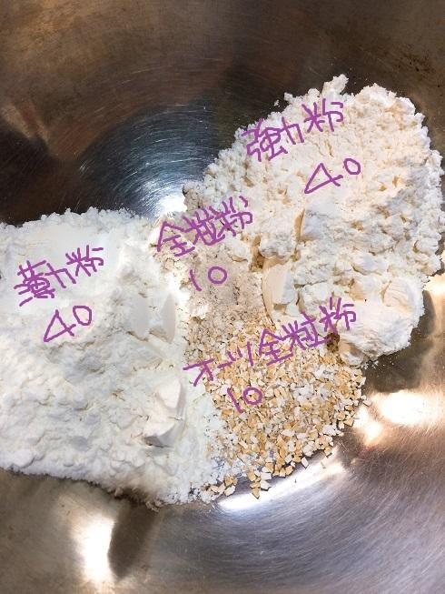 パン生地の粉類。