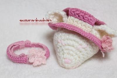 カンカン帽 桜花付きと桜花の編み首輪
