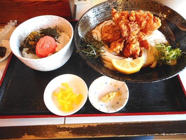 唐揚げうどん(冷)と明太高菜ごはんのセット