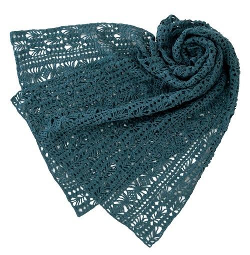 1924ピエログレイスフルリネン透かし編みショール置いて