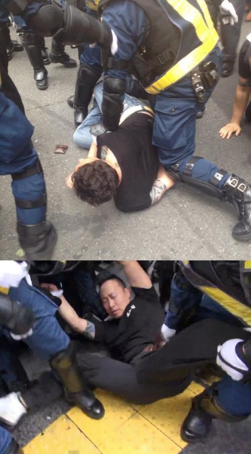 平成25年(2013年)9月8日【東京韓国学校無償化撤廃デモin新大久保】で、自称「高橋直輝」こと添田充啓(そえだあつひろ)と、木本拓史は、機動隊に取り押さえられた。