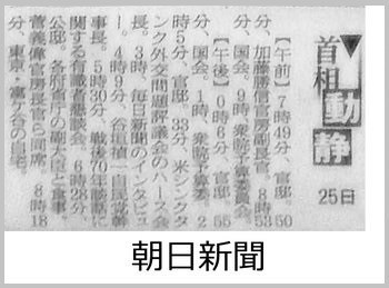 【加計学園問題】朝日新聞、2015年2月25日の首相動静