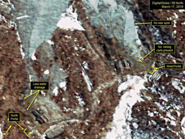 3月17日に撮影された北朝鮮・豊渓里の核実験場の衛星写真(デジタルグローブ/38ノース提供・ゲッティ=共同