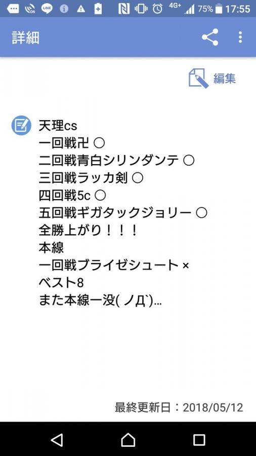 天理CS(5月12日)ベスト8 染色ダンテ スライ無さん 戦績