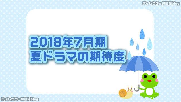 2018年7月期 / 夏ドラマの期待度
