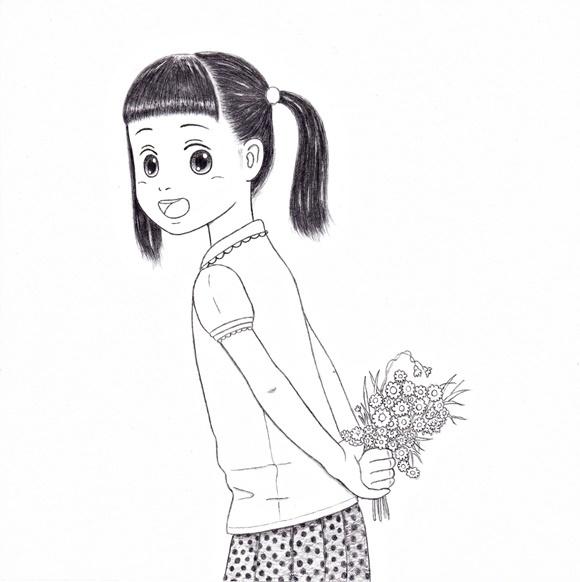 《ツインテールでお花摘み まり》 スケッチ
