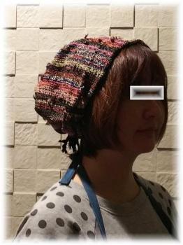 裂き織りの帽子1