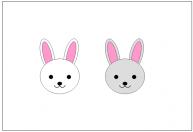 かわいいウサギの顔の素材・イラスト・絵