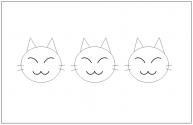 かわいいネコの顔の塗り絵(ぬりえ)