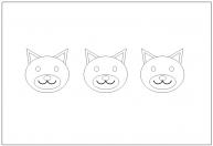 イヌの顔の塗り絵(ぬりえ)