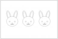 ウサギの顔の塗り絵(ぬりえ)