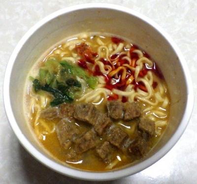 5/28発売 カップヌードル 肉食リッチ 贅沢肉盛り担々麺(できあがり)