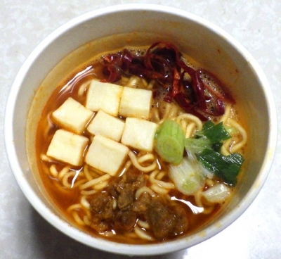 6/5発売 RIZAP 旨辛豆腐ラーメン(できあがり)