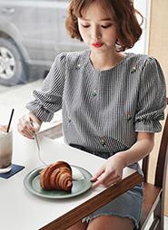 花柄刺繍チェックブラウス レディースファッション