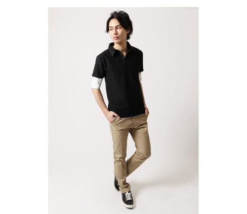 ポロシャツコーディネート 半袖×五分袖 春夏ファッション