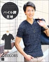 パイル地 メンズカットソー 半袖Tシャツ