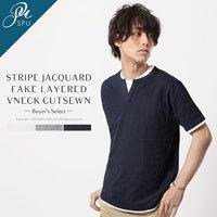 レイヤードカットソー メンズファッション 半袖Tシャツ