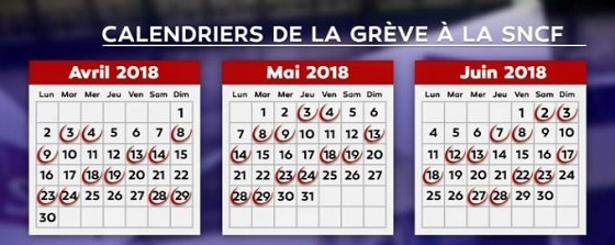 フランス国鉄スト カレンダー