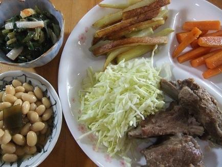 スペアリブ煮、煮豆、ぬた