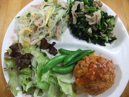 中華酢物、小松菜炒め、ハンバーグ