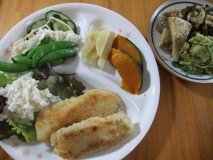 鳥カツ、サラダ、煮物
