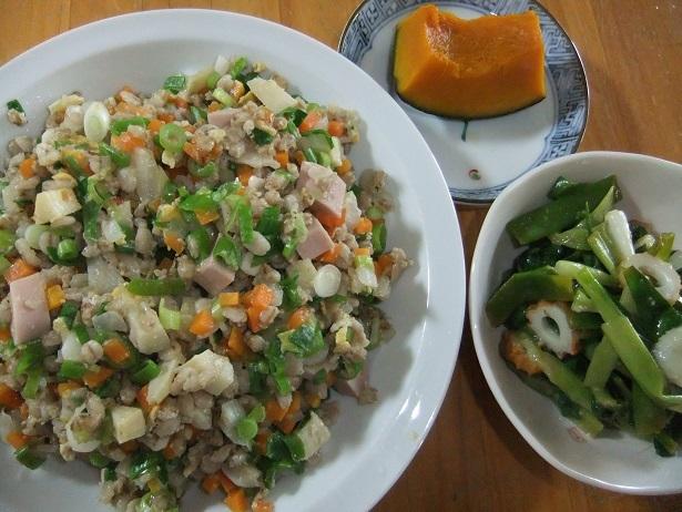 麦チャーハン、ヌタ、カボチャ煮