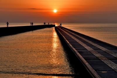 北条桟橋の夕日