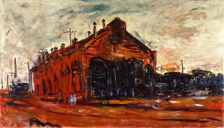 赤い機関車庫