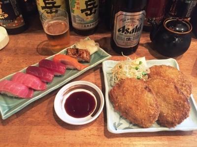 170919一心太助寿司と黒はんぺんフライ、瓶ビール630円