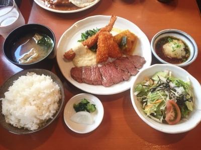 170929洋食鉄板焼 OPEN SESAME!日替わり880円ステーキ、キスフライ、海老フライ
