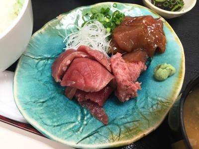 170908どんぶりや呉服町店日替りA定食700円マグロの漬け、ねぎとろ、刺身