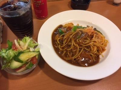 171129cafe LILAS 梅田駅3階店カレーナポリタンセット750円