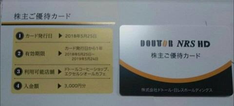 平成30年5月27日ドトール株主優待